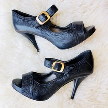 KLUB NICO Anthropologie Gold Buckle Black Leather Peep Toe Heels Brazil ... - $42.08