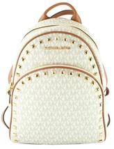 Michael Kors Abbey Monogrammed Medium Backpack Vanilla / Acorn.  RRP £310 - $375.41