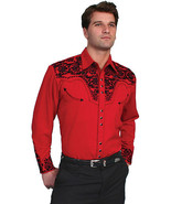 Men's Western Shirt Long Sleeve Rockabilly Country Cowboy Red black Floral - $87.79