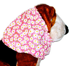 Pink White Allover Daisies Cotton Dog Snood by Howlin Hounds Size Small - $11.50