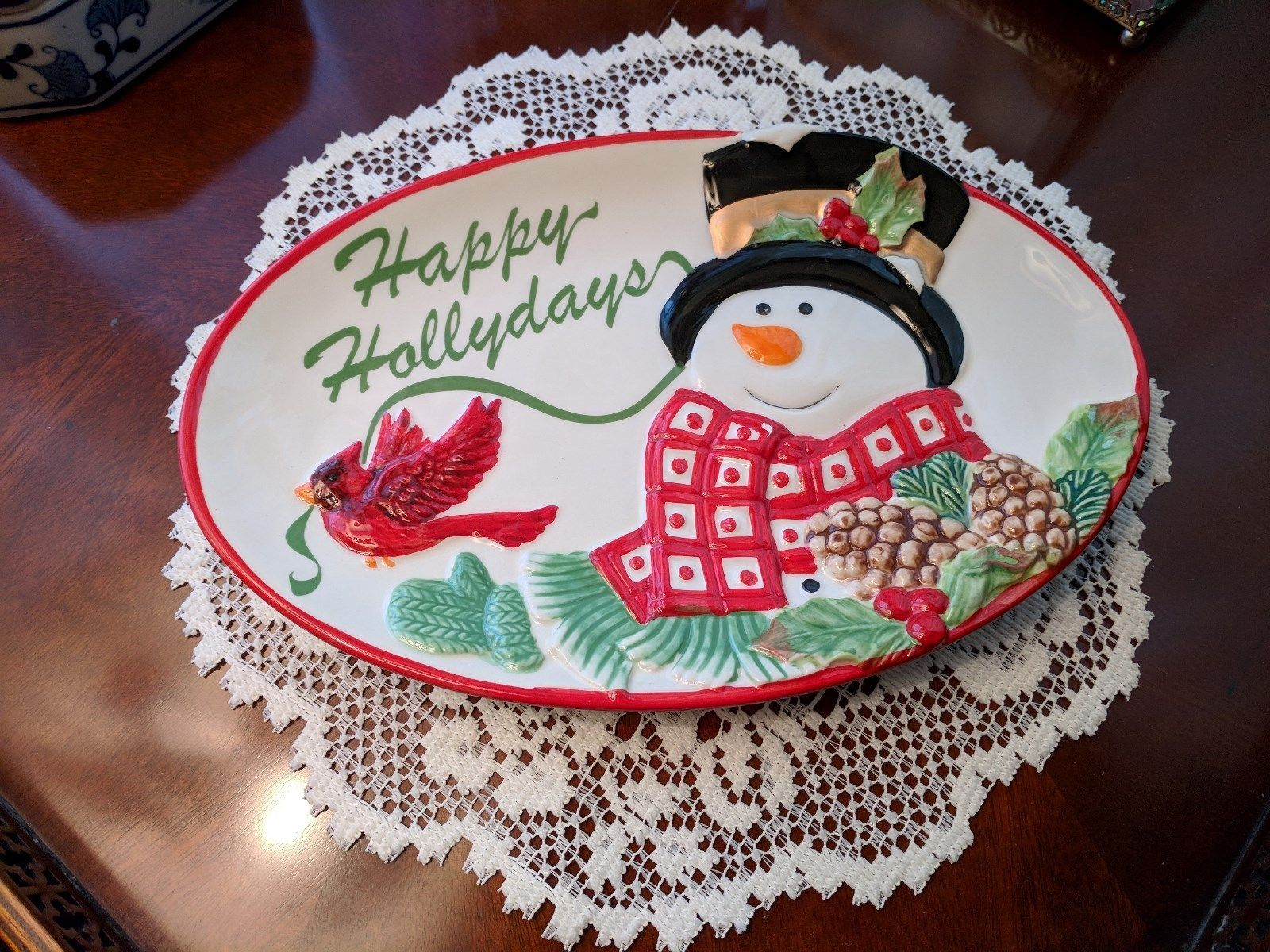Fitz and Floyd Holly Berry Snowman Happy Holidays Small Platter Tray