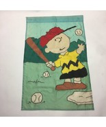 Charlie Brown Peanuts Snoopy Baseball Softball Outdoor Large Flag Vintag... - $24.99