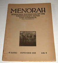 MENORAH Judaica Rare Illustrated Monthly for the Jewish Home Sept. 1928 Austria image 1