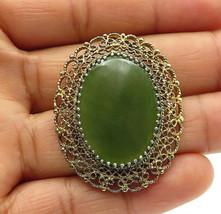 K.L. 925 Sterling Silver - Vintage Green Carnelian Filigree Brooch Pin -... - $30.02