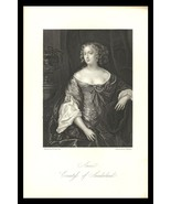 Anne Countess of Sunderland 1851 Antique Art Print Charles II Court Beau... - $24.99