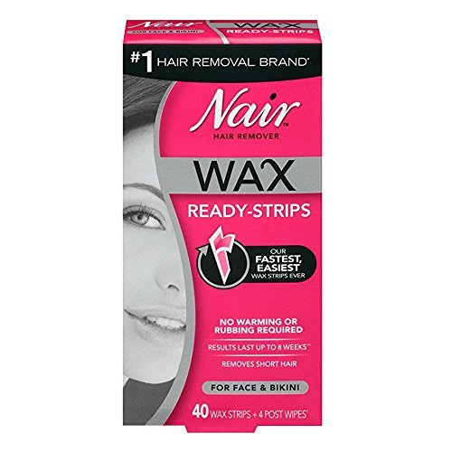 Nair Hair Remover Wax Ready-Strips 40 Count Face/Bikini 2 Pack