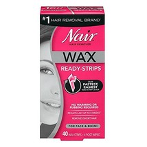 Nair Hair Remover Wax Ready-Strips 40 Count Face/Bikini 2 Pack image 1
