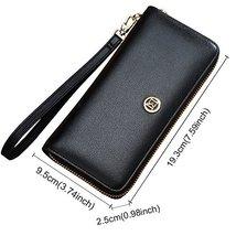 LAORENTOU Women's Genuine Leather Long Wallet Clutch Purse for Women Black image 5