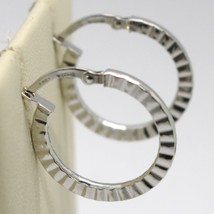 18K WHITE GOLD CIRCLE HOOPS STRIPED AND HAMMERED EARRINGS 21 MM x 2 MM, ITALY image 1