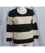 """J. Crew sweater pullover XS """"Wynter"""" champagne gold black sequins 3/4 sl... - $11.71"""