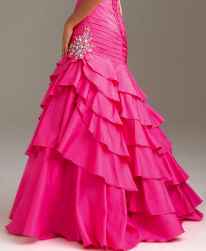 Sexy Strapless Fuchsia Pink Mermaid Prom Pageant Evening Gown Dress, Night Moves