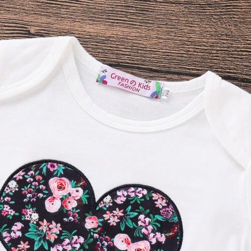 Casual Clothes 3PCS Newborn Baby Girl Clothes Sets Top Romper Floral Pants Headb image 4