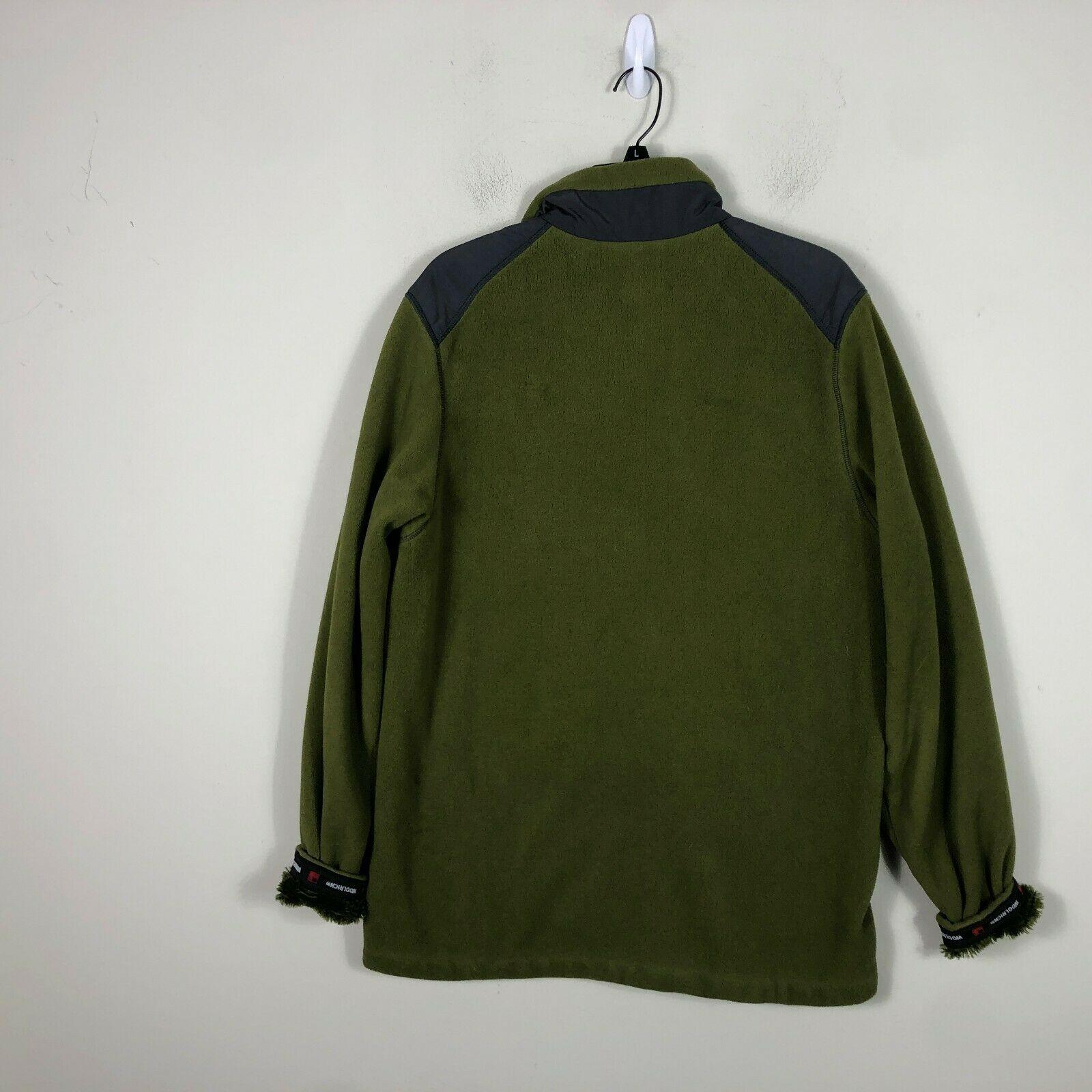 WoolRich Pile Fleece Jacket 1/2 Zip Men's M Green Long Sleeve Faux Fur Lined image 8