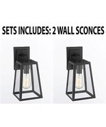 SET OF 2 - MODERN FILAMENT CLEAR GLASS WALL SCONCE - GOOD FOR OUTDOOR LI... - $135.24