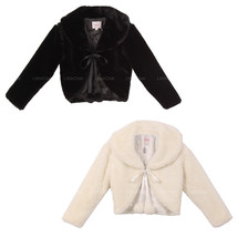 Super Soft Fur Coat with Quilted Lining and Satin Ribbon Front Closure - $29.95