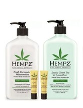 Hempz Gift Set Fresh Coconut Watermelon + Green Tea Moisturizer + 2 Lip Balms  - $26.95