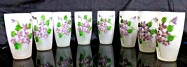 OOAK 8 Frosted Opaque Glass Tumblers HandPainted Floral Purple Violet Bo... - $29.67