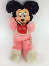 "Minnie Mouse Pink Baby Bib Rubber Face Japan VTG Plush Stuffed Animal 13"" - $30.88"