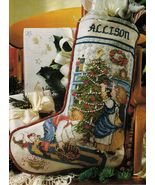 Cross Stitch Trimming The Tree Christmas Stocking Loving Heart Hanging P... - $9.99