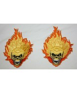 Pair of FLAMING SKULL Patches – Size Small – NEW - $9.89