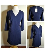 Boden Women's Dress NWT Navy Blue Textured Ribbed Knit V-Neck Retro Jump... - $185.99