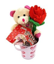 Valentines Day Plush Bear Rose Heart Chocolate Gift Set Basket - $16.47