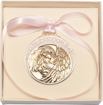 Crib Medal - Gold Finished Baby w/Angel  with Pink Ribbon - $31.99
