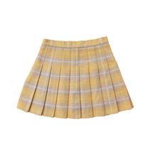 Winter Plaid Pleated Skirt Women Girls Plus Size Wool Pleated Plaid Skirt Yellow image 4