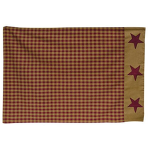 2 rustic country primitive burgundy & tan plaids & stars NINEPATCH Pillow Cases - $25.99