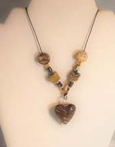 Brown Lampwork Heart Beaded Necklace - $30.00