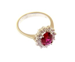 18K WHITE GOLD FLOWER RING BIG OVAL 9x7mm RED CRYSTAL CUBIC ZIRCONIA FRAME image 1