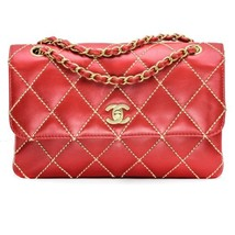 Chanel Medium Classic Quilted Flap Bag in Red Leather with Beige Wild St... - $3,113.55