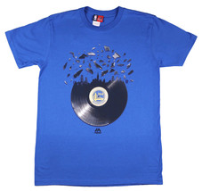 MAJESTIC Golden State Warriors Broken Record T-Shirt sz M Medium Blue Cu... - $24.99