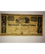 1840 $1000 Bank Note The Bank United States #8894 - $39.99