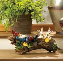 Garden Gnome Sleeping on Log w/ Two Bunnies & Solar Flowers Figurine Statue - $45.49
