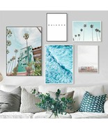Beach Poster Wave Wall Art Canvas Painting Quotes Coconut Tree Paintings... - $5.99+