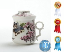 Chinese Tea-Mug with Infuser and Lid Asian Porcelain Cup Maker Portable ... - $23.76