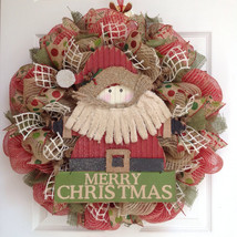Country Rustic Santa Merry Christmas Deco Mesh Wreath - $89.99