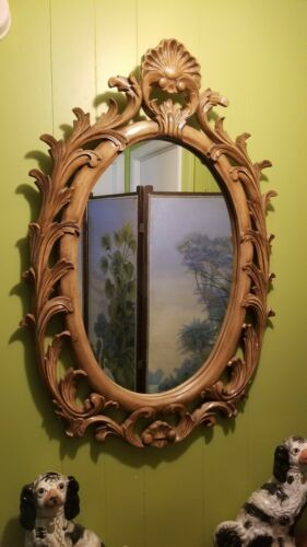 Primary image for Vintage Heavy Italian Regency Large Carved Light Wood Oval Wall Mirror Shell
