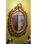 Vintage Heavy Italian Regency Large Carved Light Wood Oval Wall Mirror S... - $325.71
