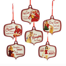 KURT S. ADLER SET OF 6 WOODEN NAUGHTY XMAS PIN-UP PLAQUE HOLIDAY ORNAMENTS  - $18.88