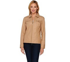 Dennis Basso Faux Leather Zip Front Jacket with Seam Detail, Camel, Size XXS,$75 - $39.59