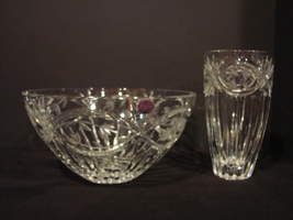 Gorham Hand Cut Full Lead Crystal Bowl and Vase Victoria's Garden Pattern  - $75.00