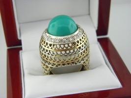 Stupéfiant Turquoise Diamant Dentelle Grand Bague Solide 14k 3 Tone Or - $1,171.14