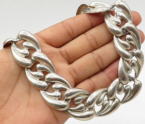 "Primary image for MEXICO 925 Silver - Vintage French Curve Detail Statement 17"" Necklace - N1623"