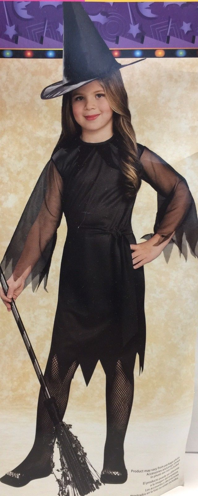 Halloween Witch Dress & Hat Set Girl L (10 - 12)
