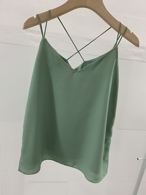Sage green chiffon top