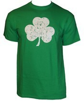 Retro Green Irish Distressed Shamrock T-shirt St Patricks Day Mens Irela... - $15.99+