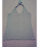 Venus light green halter knit top with all over sequence type embellishm... - $14.01
