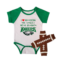 Philadelphia  Eagles Onesie And Leggings Outfit Set Love Watching With Grandpa - $24.95